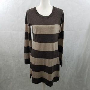 Club Monaco Brown Striped Lambswool Blend Dress M